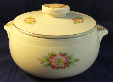 Hall Rose White Casserole With Lid