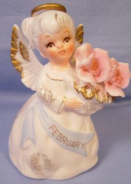 Lefton Bisque Birthday Angel #3332 - February