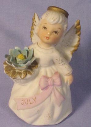 Lefton Bisque Birthday Angel #3332 - July