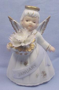 Lefton Bisque Birthday Angel #6800 - January
