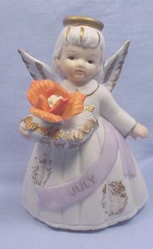Lefton Bisque Birthday Angel #6800 - July