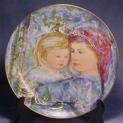 Edna Hibel Knowles Mother's Day Plate - 1991 Michelle & Anna