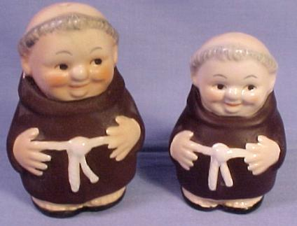 This salt and pepper set is in the popular Brown Friar Tuck series put out
