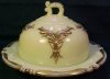 Heisey Ivorina Winged Scroll Gold Trim Butter Dish w Lid