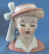 "Napco 4-1-2"" Lady Head Vase Pink Dress & Hat C3342B"