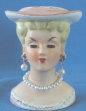 """Head Vase - 3-1/4"""" Mini Pink Hat, Earrings & Pearls"""