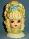 """Head Vase - Lefton 6-1/4"""" Teen w Blue Flowers in Hair"""