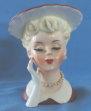 "Napco 4-1-2"" Lady Head Vase W Maroon Hat & Pearls A5046B"