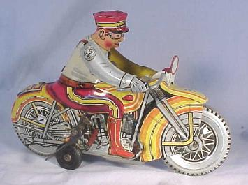 Collectible Tin Windup Toy - Police Siren Motorcycle