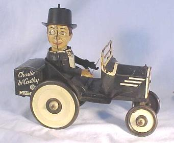 Marx Tin Windup Toy - Charlie McCarthy in His Benzine Buggy