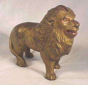 Arcade Cast Iron Lion Still Coin Bank; Tail right