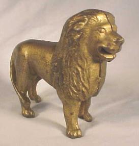 Cast Iron Lion Still Bank; tail right
