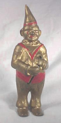 Cast Iron Clown Still Bank with tall curved hat